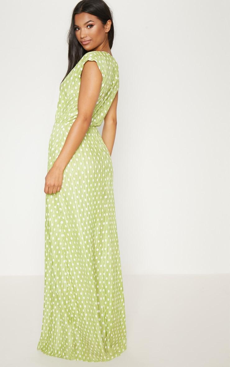 Lime Polka Dot Plisse Plunge Maxi Dress 2