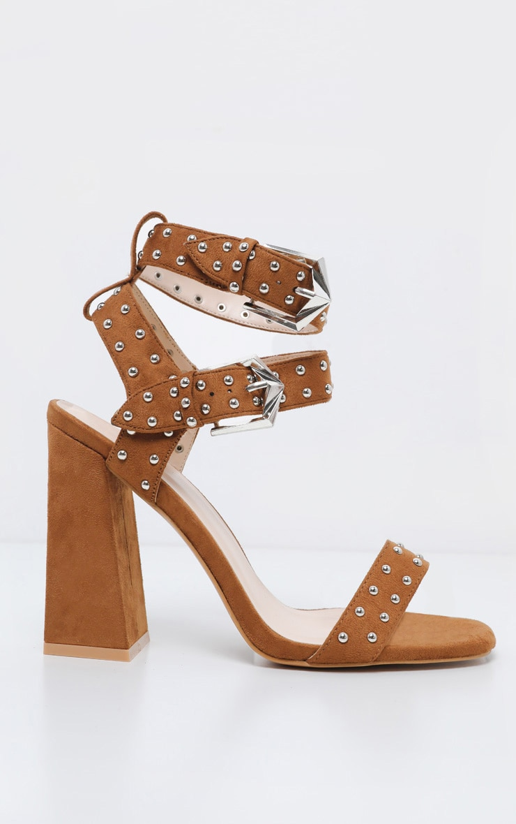 Tan Buckle Detail Studded Block Heel Sandal 4