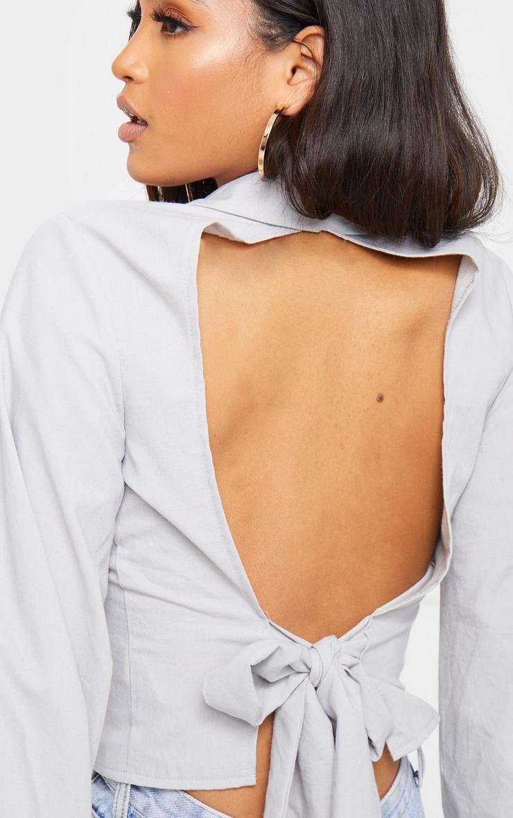 Grey Woven Open Back Tie Long Sleeve Shirt 5