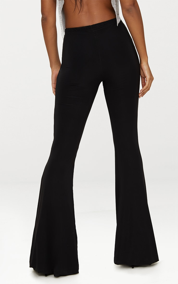 Black Slinky Flared Trousers 4
