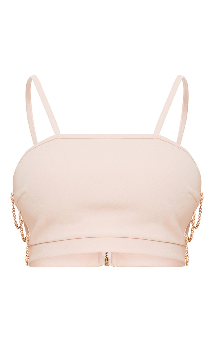 Clea Nude Strappy Chain Detail Crop Top 3