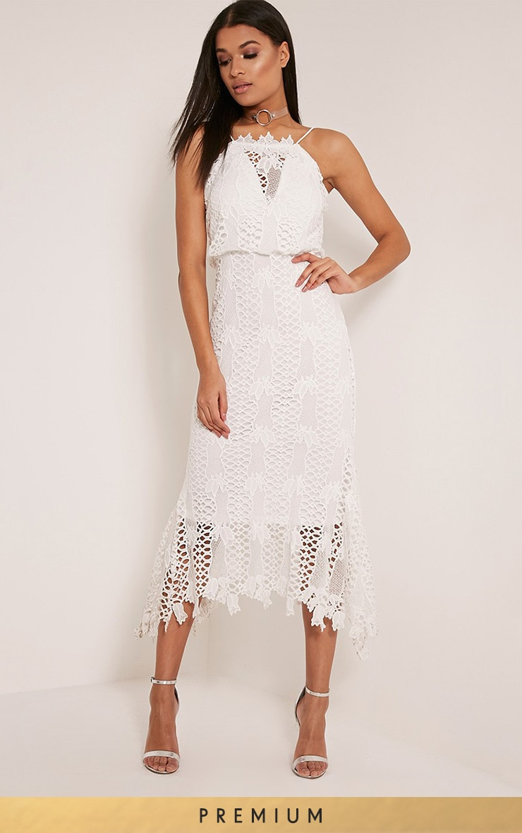 Reeya White Lace Midaxi Dress 1