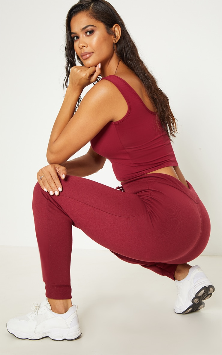 Basic Burgundy Jersey Square Neck Crop Vest 2