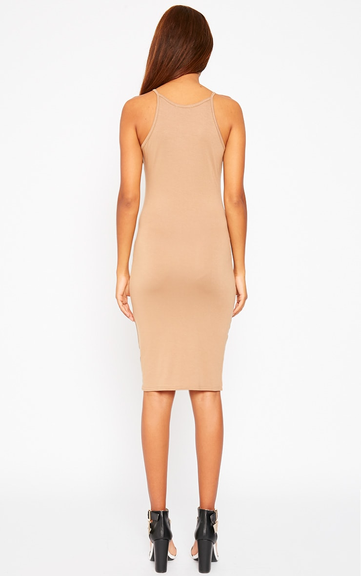 Basic Camel Jersey Racer Neck Dress 2