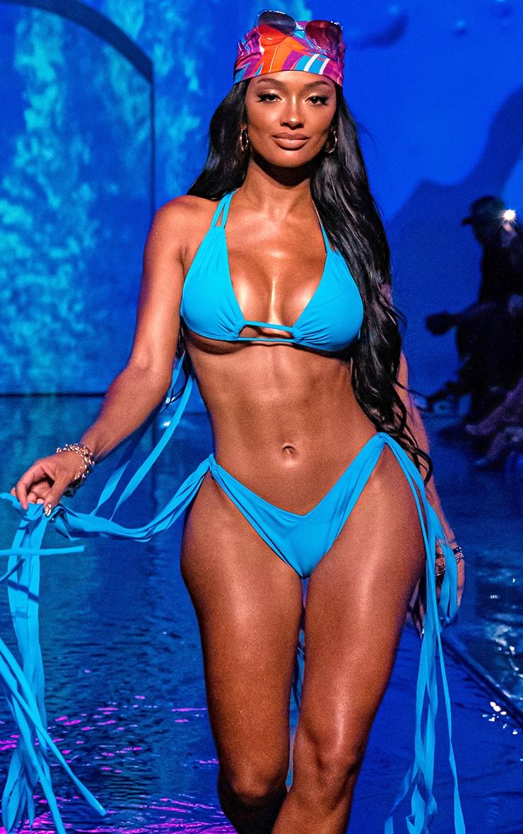 Blue Mini Tassel Tie Bikini Top 1