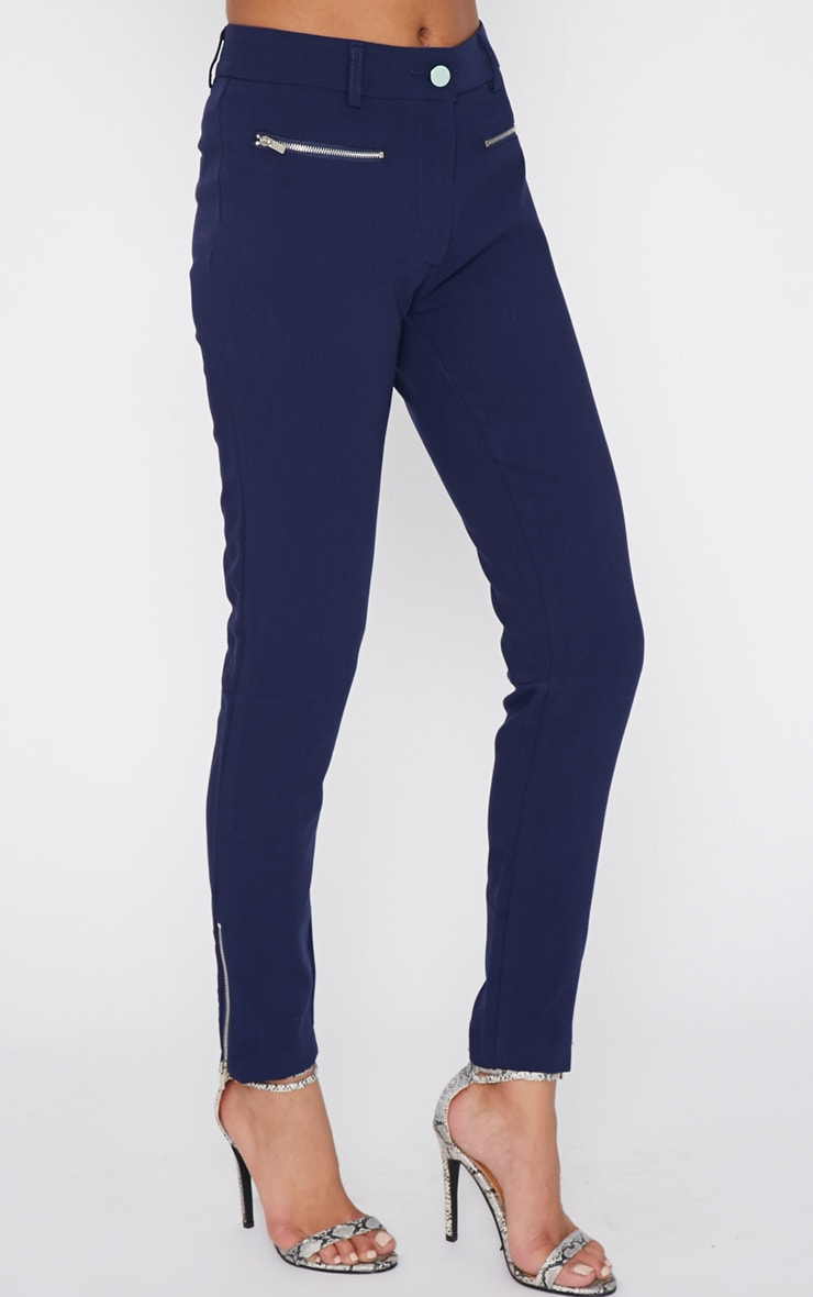 Larisa Navy Zip Cigarette Trouser  3