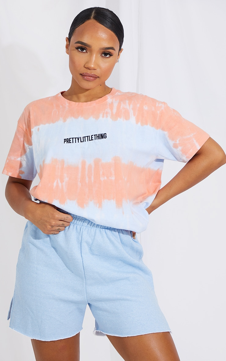 PRETTYLITTLETHING Blue Tie Dye Embroidered T Shirt 1