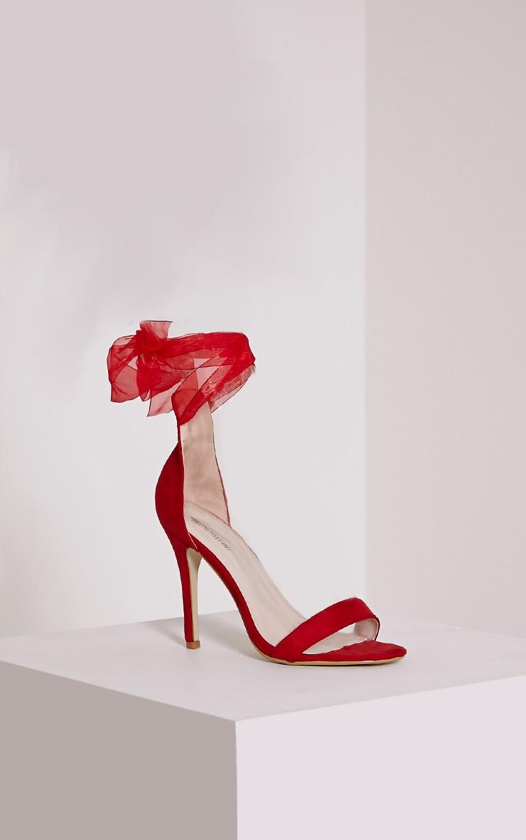 Lauren Red Faux Suede Ribbon Tie Sandals 3