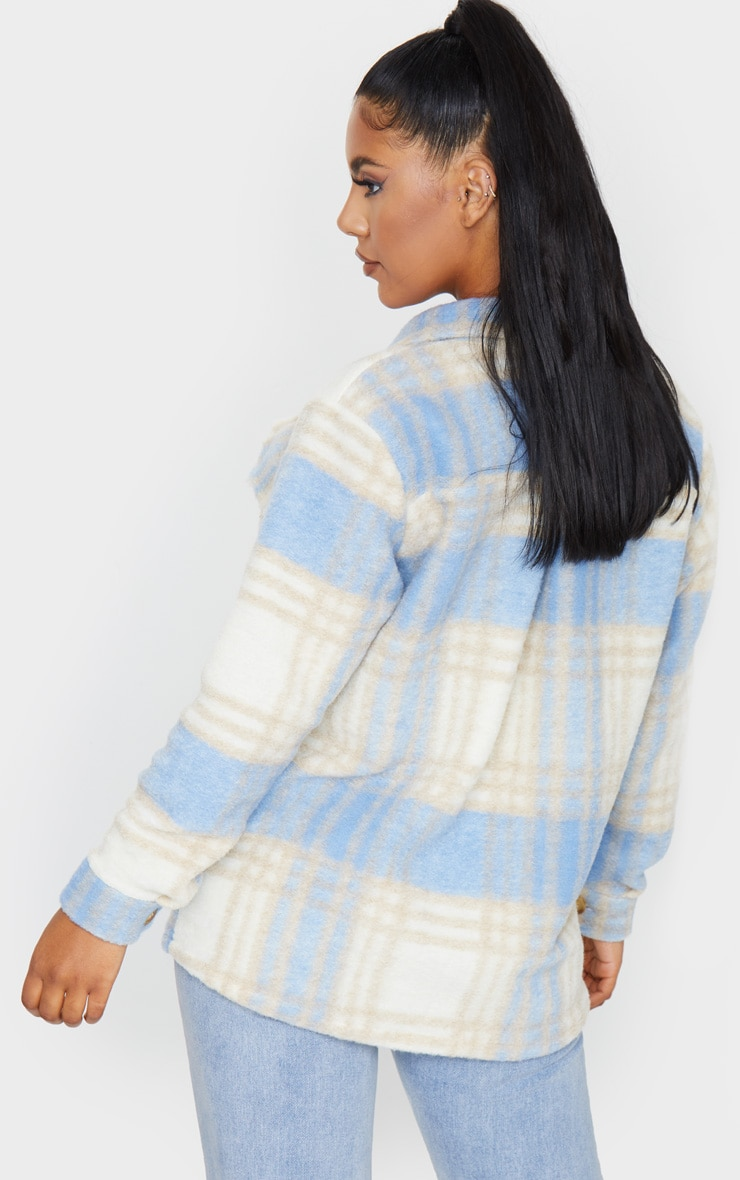 Blue Brushed Check Print Shacket 2