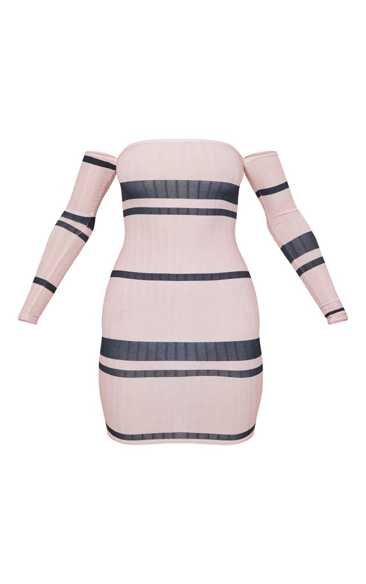 Pink Stripe Ribbed Bardot Bodycon Dress 5