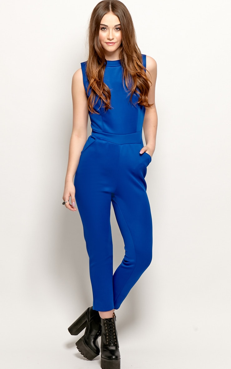 Selene Royal Blue Cut Out Jumpsuit 4