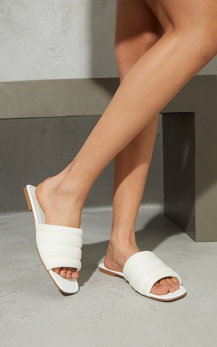 White Netted Quilted Square Toe Sandals 2
