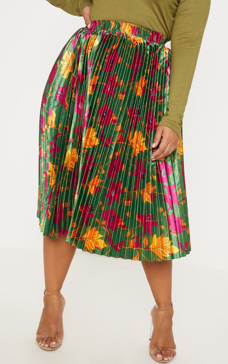 Plus Emerald Green Floral Print Pleated Midi Skirt 2