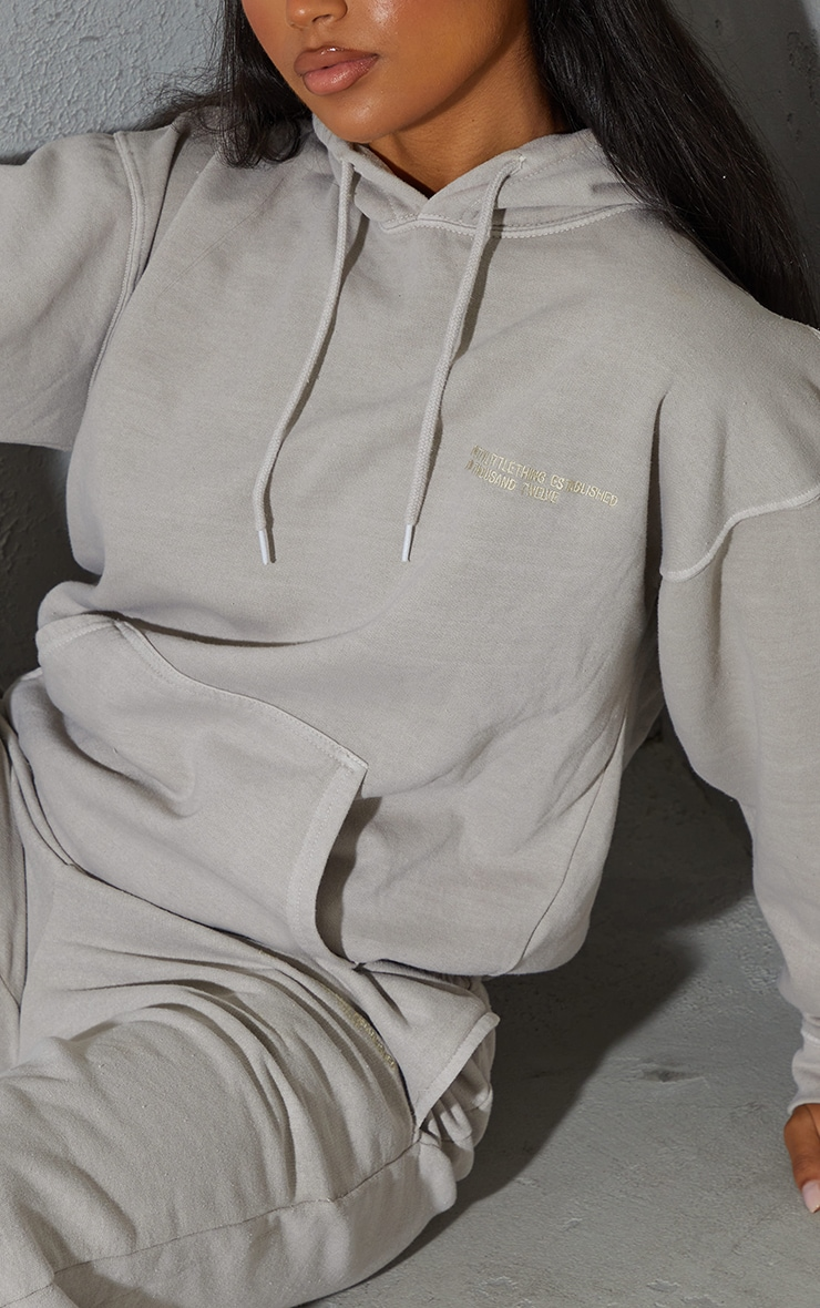 PRETTYLITTLETHING Recycled Grey Est 2012 Washed Hoodie 4
