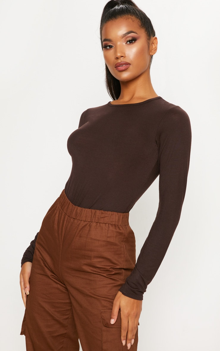 Basic Chocolate Crew Neck Long Sleeve Bodysuit 6