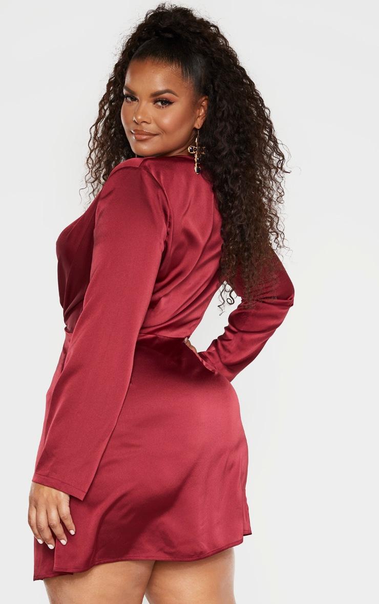 Plus Burgundy Satin Long Sleeve Wrap Dress 2