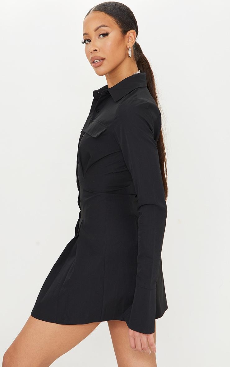 Tall Black Pocket Detail Cargo Cinched Waist Shirt Dress 2