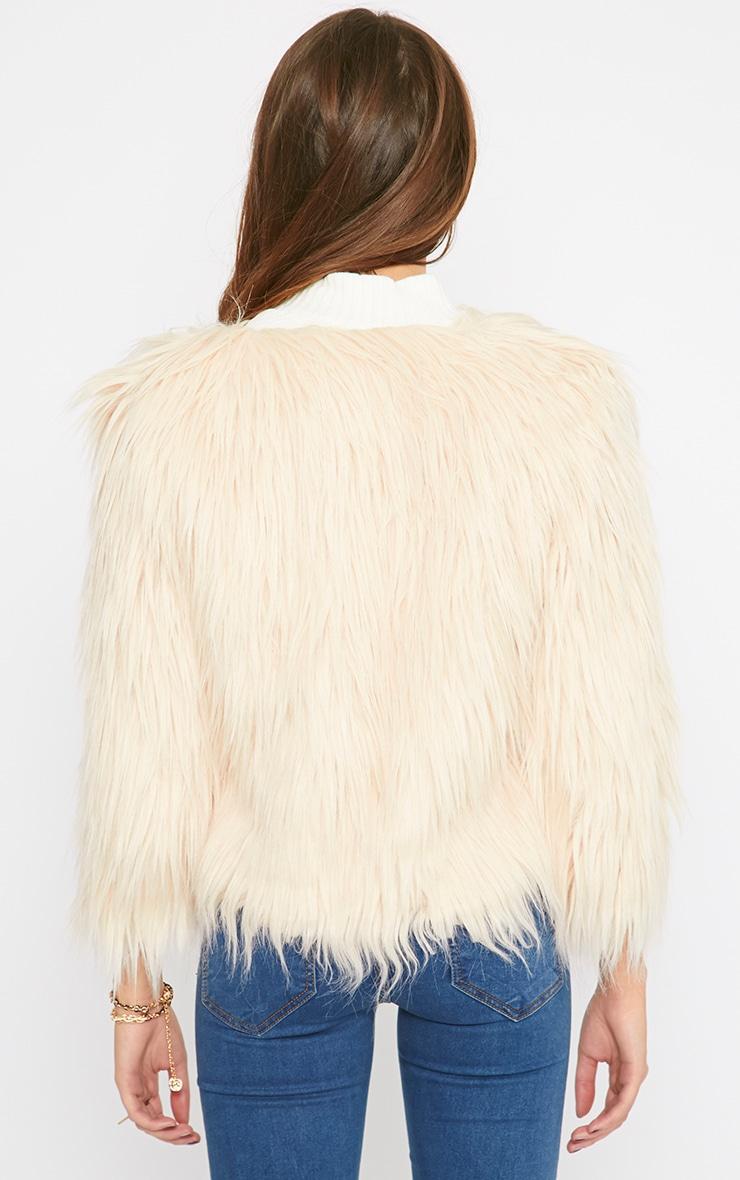 Pamela Blush Mongolian Faux Fur Cropped Coat  2