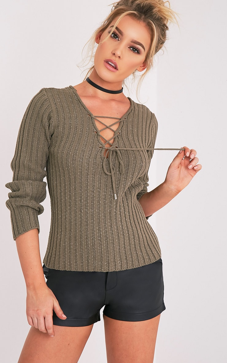 Dalya Khaki Lace Up V Jumper 1