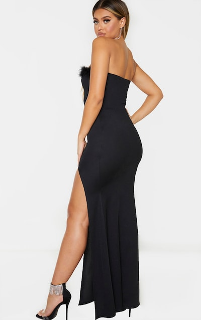 Black Feather Trim Bandeau Maxi Dress