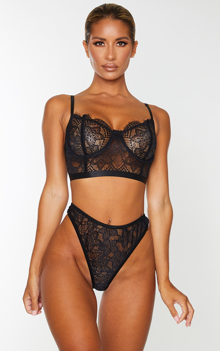 Black Underwired Longline Delicate Floral Lace Bra 1