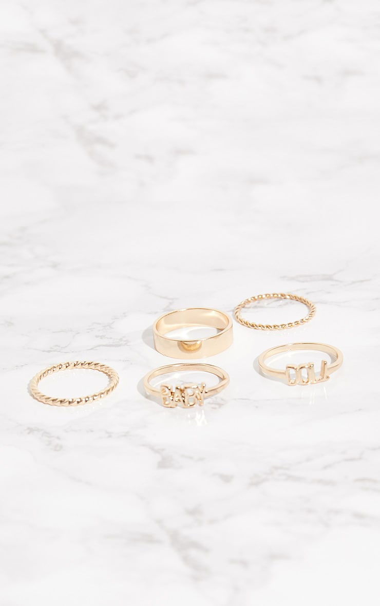 Gold Baby Doll Ring Set 3