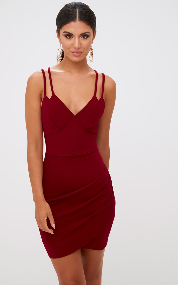 Burgundy Double Strap Wrap Skirt Bodycon Dress 1