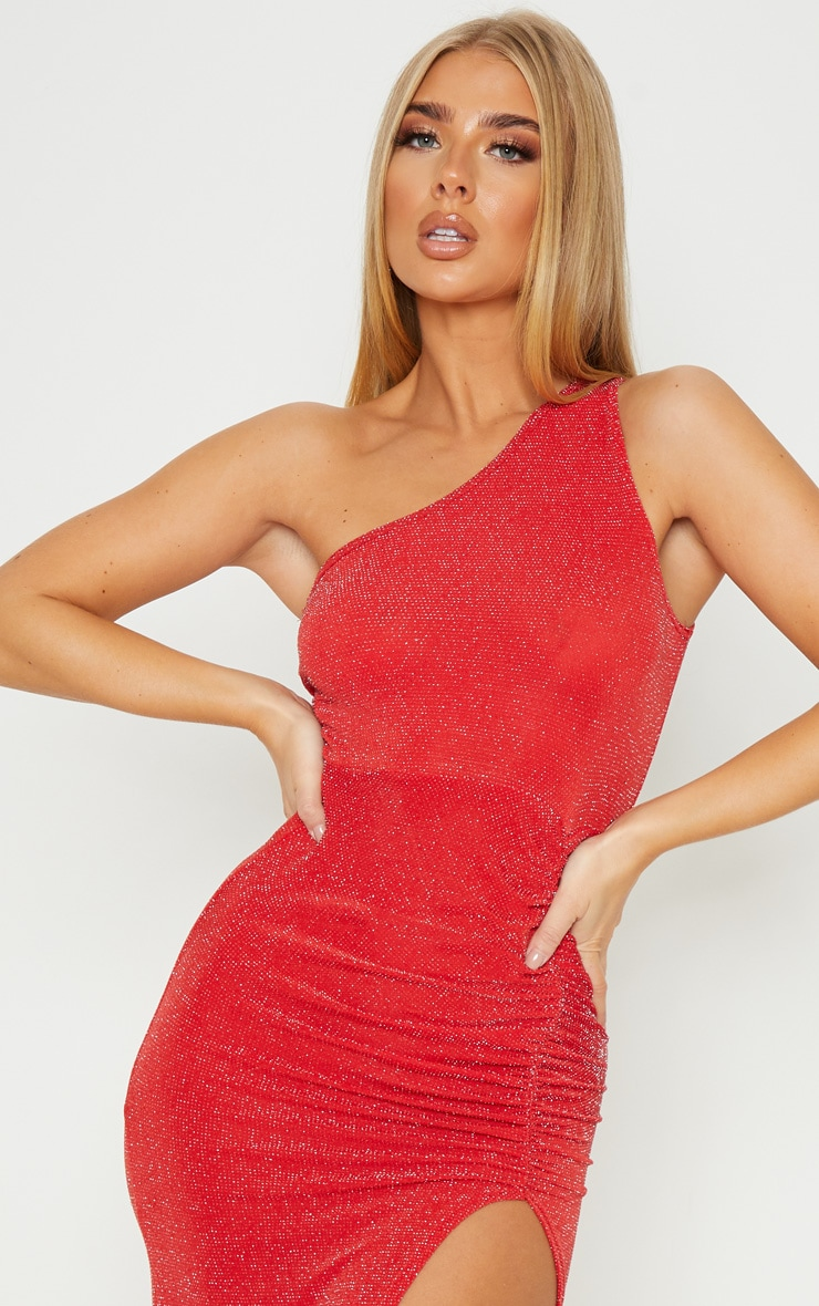 Red Textured Glitter One Shoulder Ruched Midi Dress 5