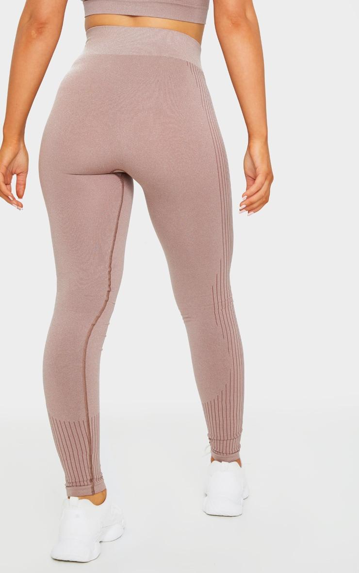 PRETTYLITTLETHING Mocha Sport Rib Detail Seamless Leggings 3