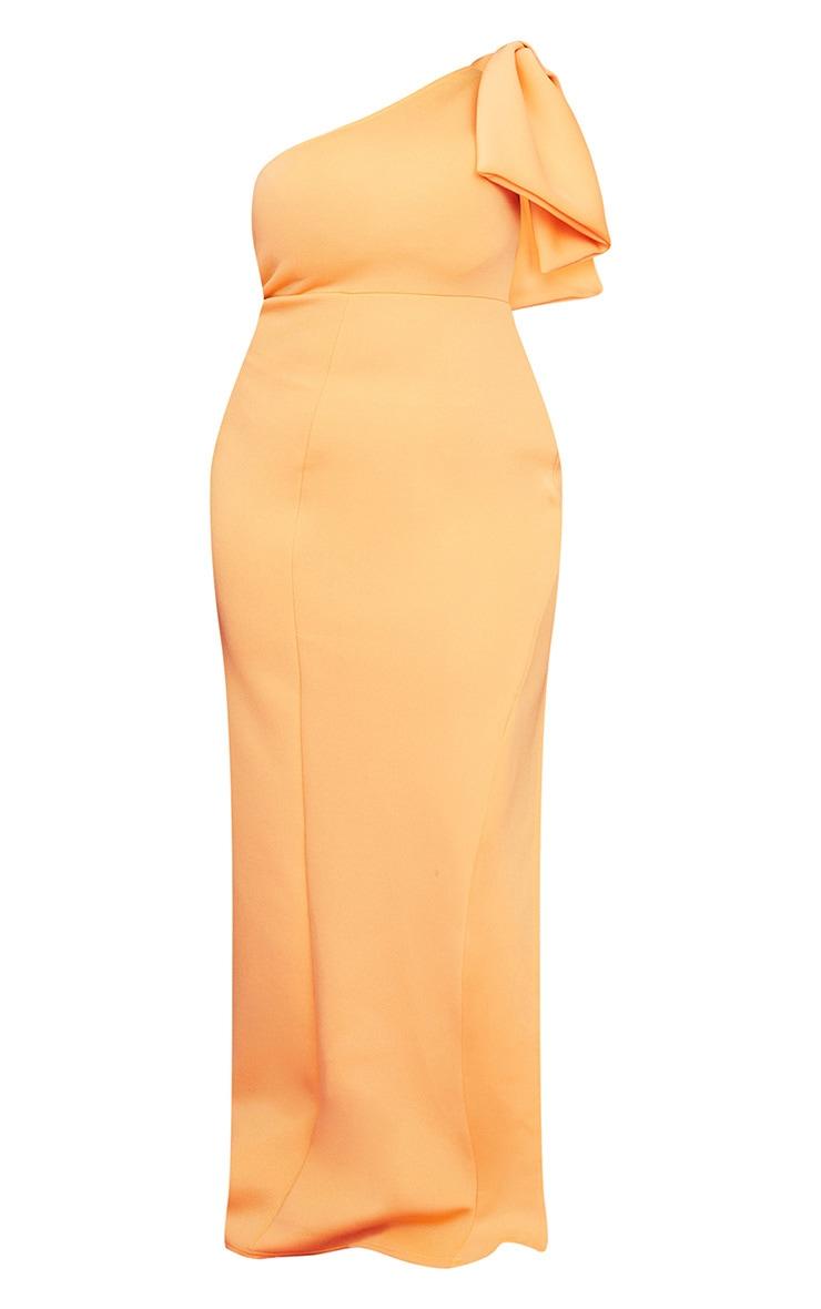 Plus Tangerine Scuba Bow Shoulder Maxi Dress 5