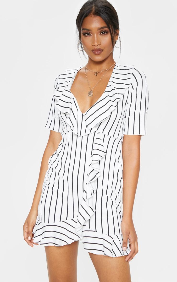 White Stripe Frill Detail Wrap Dress 1