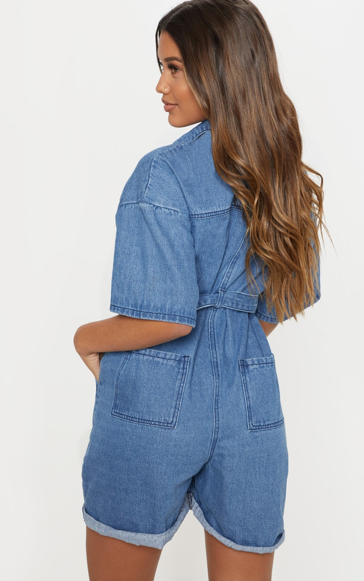 Light Wash Shorts Denim Romper 2