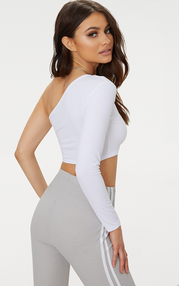 White One Shoulder Rib Crop Top 2