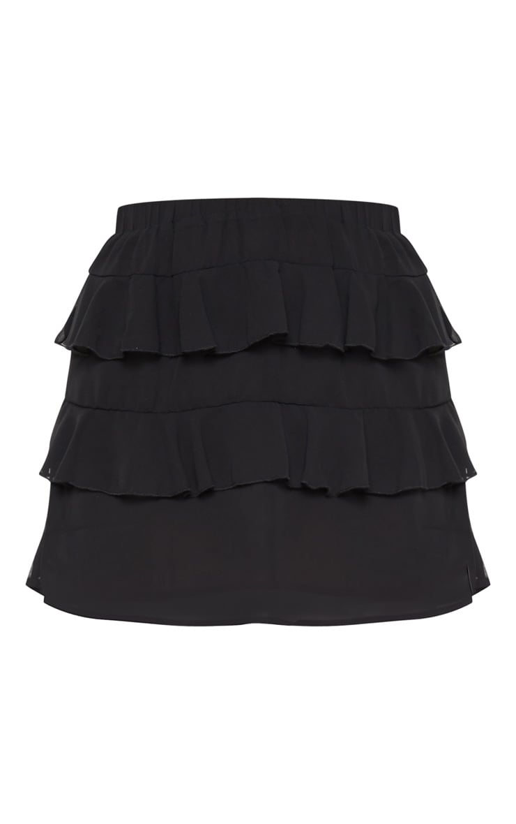 Poppey Black Ruffle Mini Skirt 3