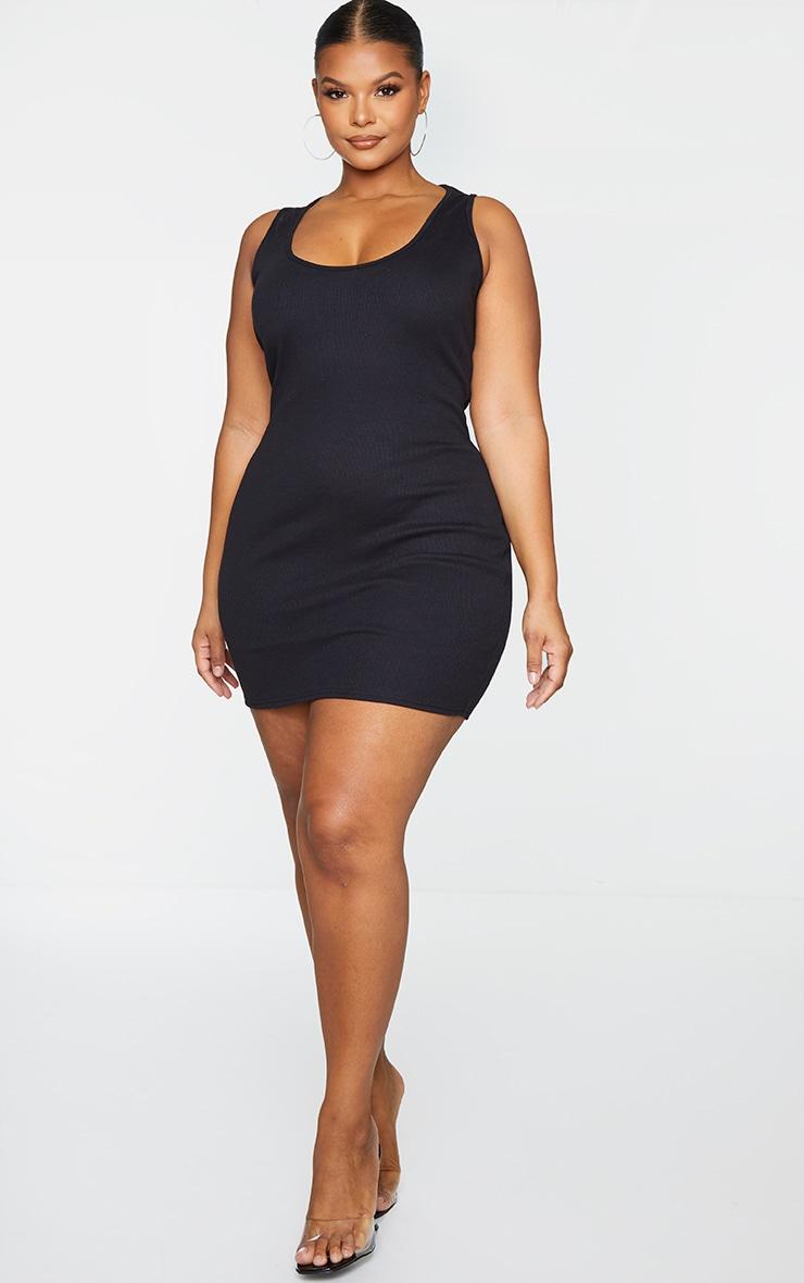 Plus Black Ribbed Scoop Neck Bodycon Dress 1