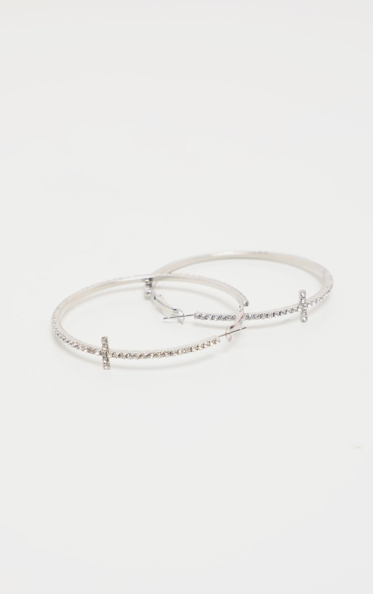 Silver Diamante T Bar Hoop Earrings 2