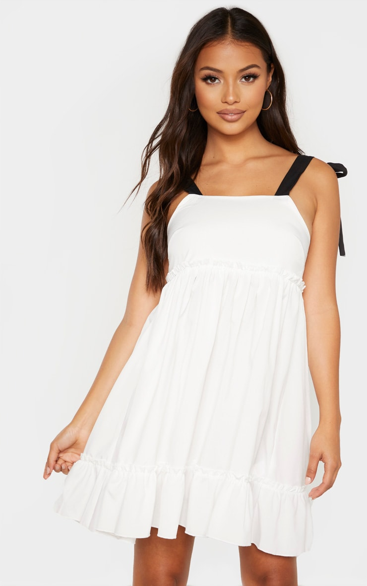 Petite White Tier Contrast Tie Straps Dress 2