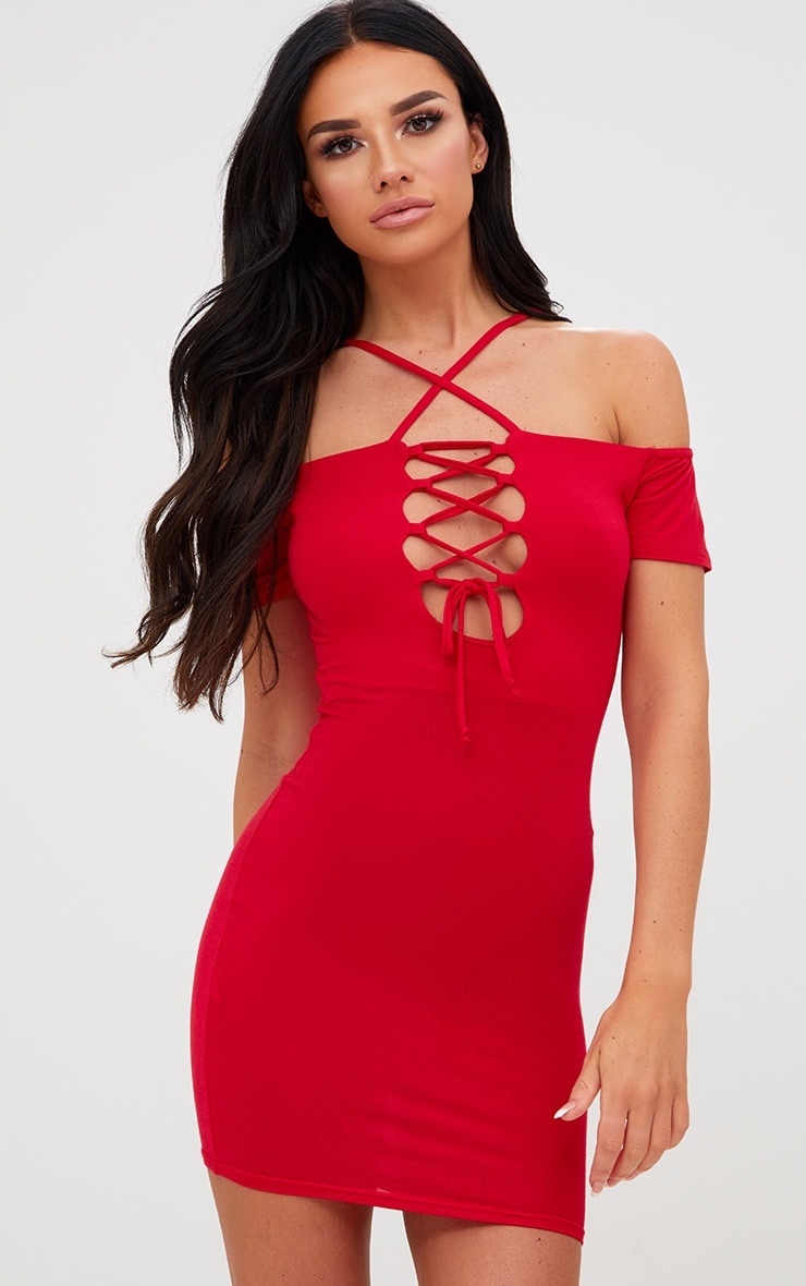 Red Lace Up Front Bardot Strappy Bodycon Dress 1