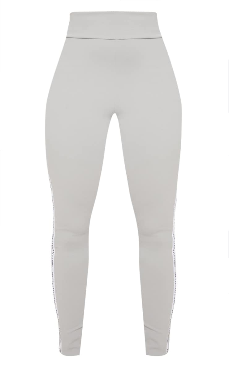 PRETTYLITTLETHING Grey Side Tape Leggings 3
