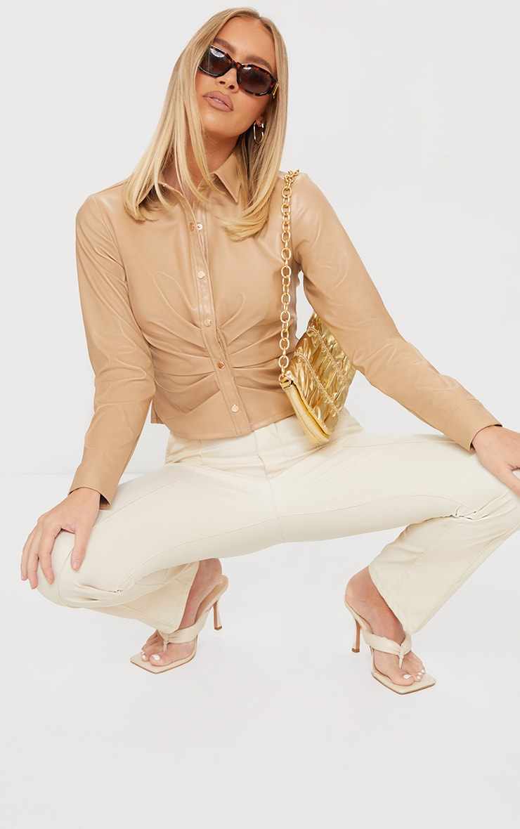 Cream PU Ruched Button Stand Fitted Shirt 3