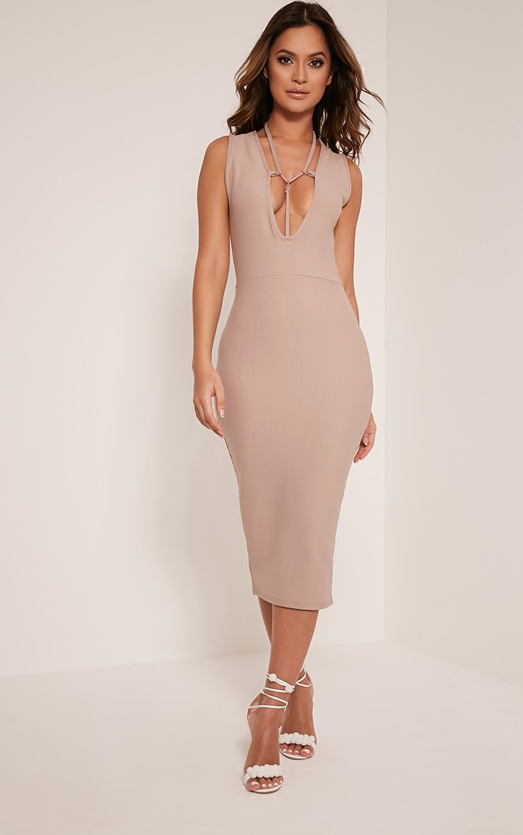 Marny Taupe Harness Detail Midi Dress 1