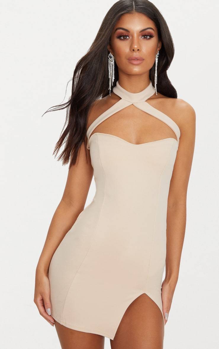 Stone Choker Detail Sweetheart Neck Bodycon Dress 1
