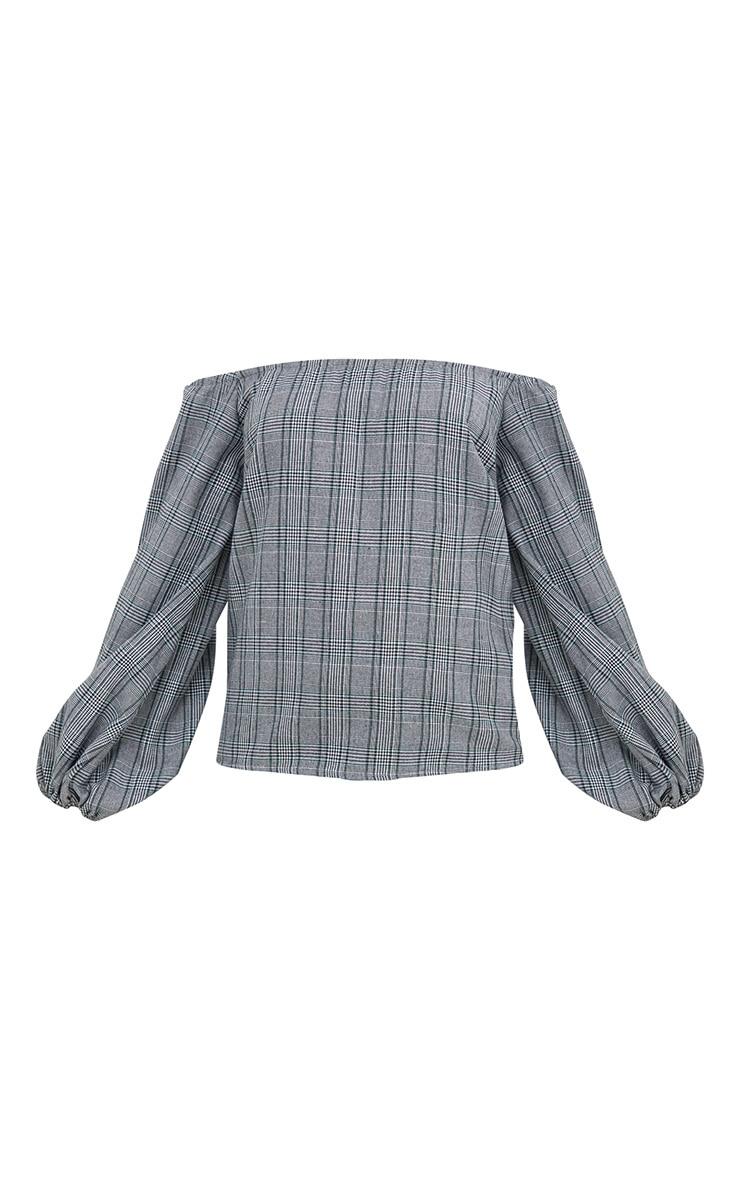 Grey Check Bardot Oversized Sleeve Shirt 3
