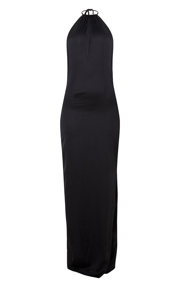 Black Cowl Back Halterneck Maxi Dress 3