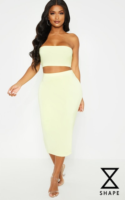 b5e3a6904be Shape Lemon Yellow Slinky Midi Skirt