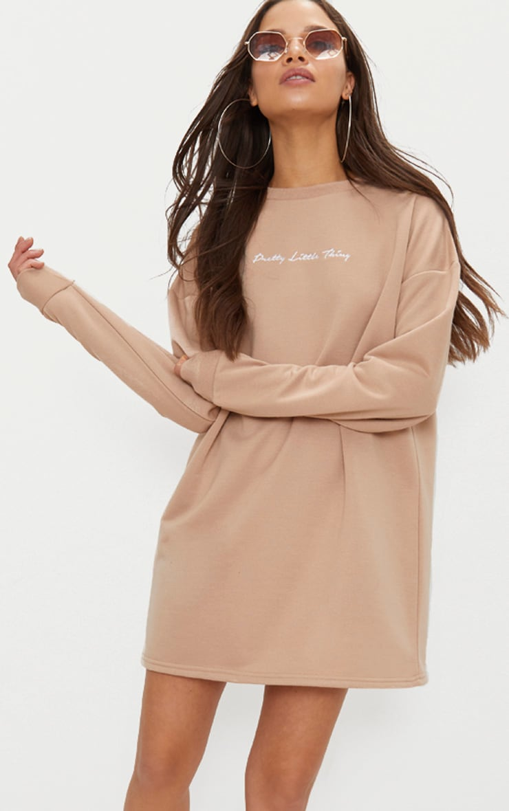 PRETTYLITTLETHING Stone Embroidered Jumper Dress