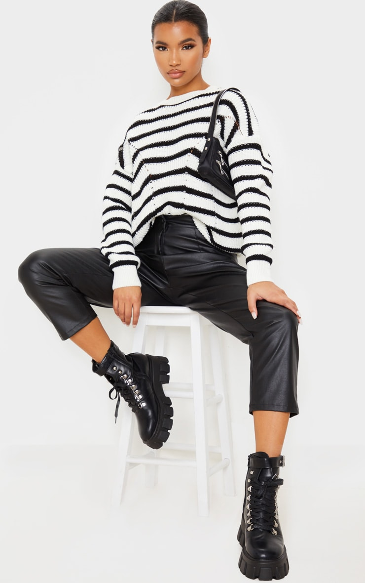 Monochrome Pointelle Detail Stripe Knitted Sweater 1
