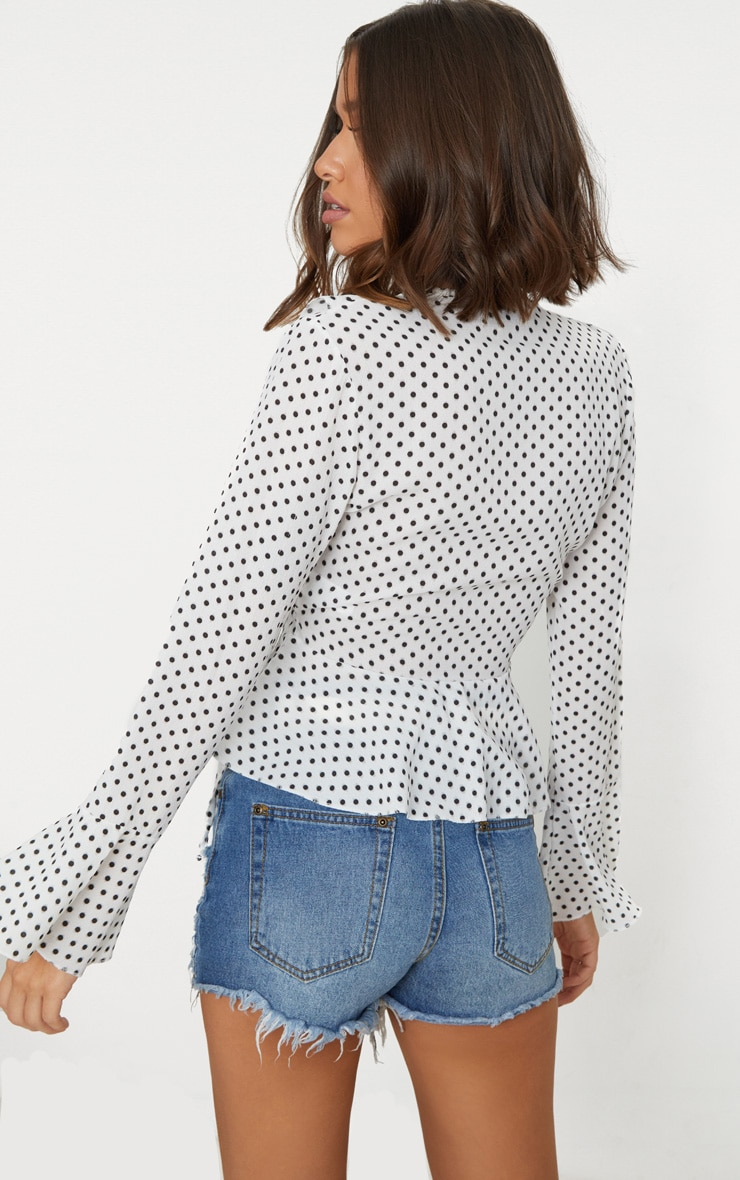 White Polka Dot Chiffon Frill Detail Blouse  2