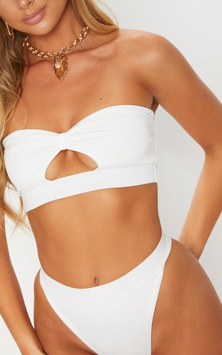 White Elasticated Bow Bikini Top 5
