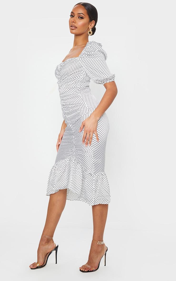 White Polka Dot Ruched Front Frill Hem Dress 3